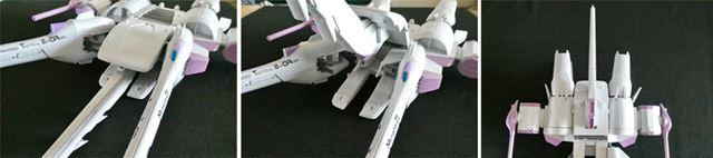 機首部分を上げ、そのままうしろに180°回転させます。機首部分のとんがりは、後方に伸びる感じになりました