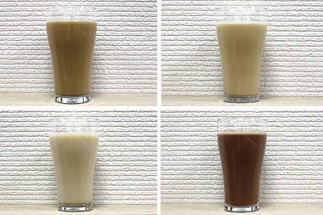 左上から時計回りに、コーヒー牛乳味、ミルクティー味、ココア味、バナナ味