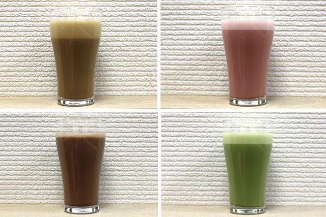 左上から時計回りに、カフェラテ味、ミックスベリーヨーグルト味、抹茶ラテ味、ショコラ味