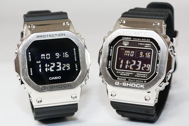 左が新作の「GM-5600-1JF」、右が「GMW-B5000-1JF」。以下の写真も並びは同じ