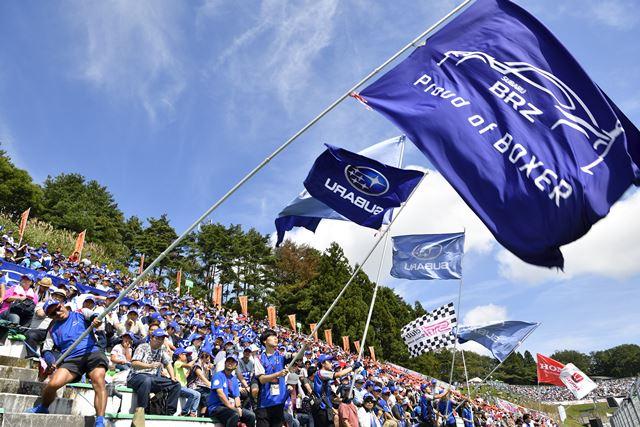 SUBARU応援団長として旗を振る筆者<br>写真:雪岡直樹