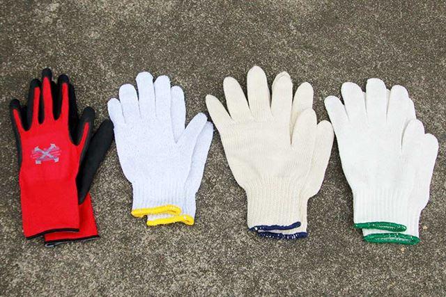 左からコーティング手袋、特防、純綿、混紡