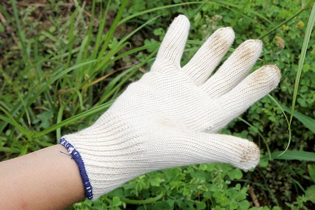 純綿「デラックスG」。20番手(糸の太さ)を13本の糸で編んでいるため頑丈