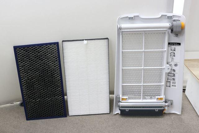 静電HEPAフィルターやダブル脱臭フィルターを搭載。自動お掃除機能付きです