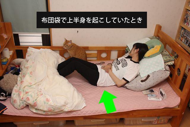 布団袋で調節していたときは寝ているうちに腰がずり落ち、胃液が逆流してしまい眠れなくなることも