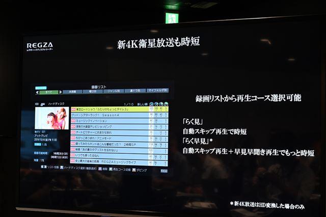「時短で見る」もしっかりと搭載されている。なお、4K放送の録画番組はHD変換することで利用可能となる