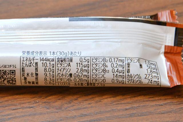 カロリー144kcal、糖質8.3g。1gあたりのプロテイン量は約0.33g