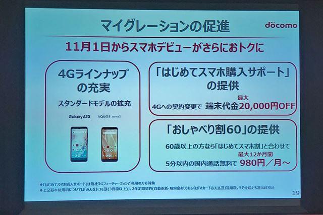 4Gへの移行を促進する特典措置として、「はじめてスマホ購入サポート」と「おしゃべり割60」が発表された