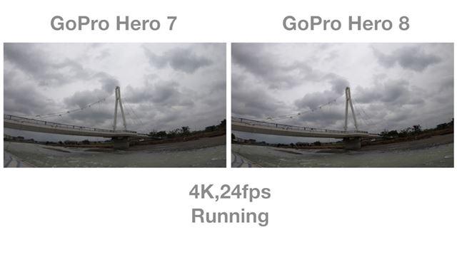 走りながら撮影した動画の比較では、意外にも「HERO 8」と「HERO 7」の差はそれほど大きくありませんでした