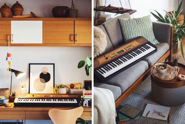 室内に置くとこんなイメージ。木目調のデザインが空間をおしゃれに彩ってくれます