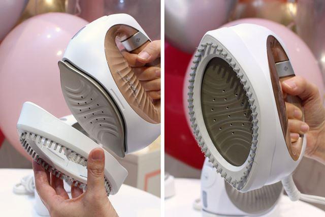 おしゃれ着のブラシアタッチメントは、かけ面にカパッとはめ込むだけで簡単にセットできます