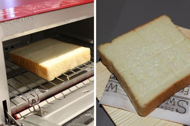 6分の加熱が終わり、焼き上がりを見てみると……。食パンの表も裏にも焼き目は一切付いていません