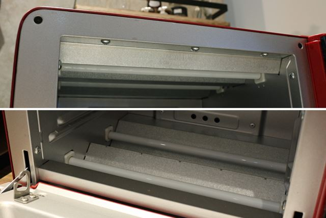 上下に2本ずつ搭載されているヒーターは、庫内の温度を管理するためのもの