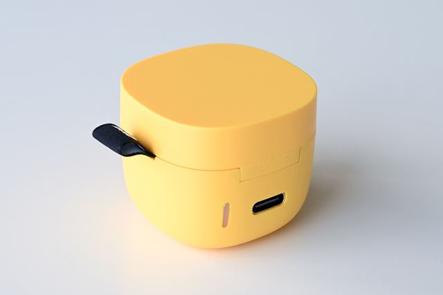 専用ケースの充電端子には最新のUSB Type-Cを採用。電池残量を確認できるLEDインジケーターも便利だ