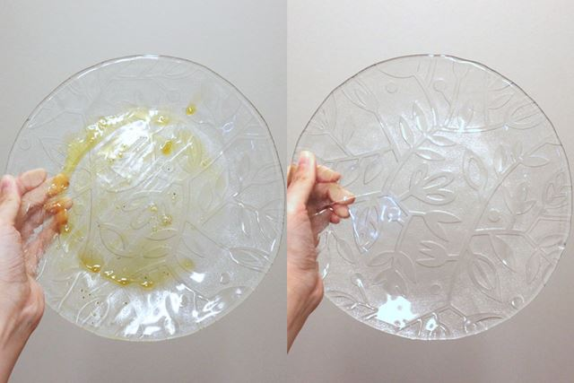 半熟の目玉焼きを食べた後の中皿。こびりついた黄身も完全に落ちています
