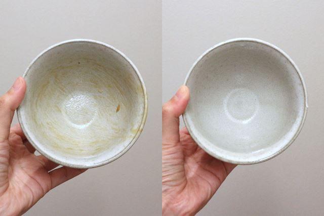 納豆ご飯を食べた後の茶わん。ご飯のカピカピ、納豆のヌルヌルはまったく残っていません