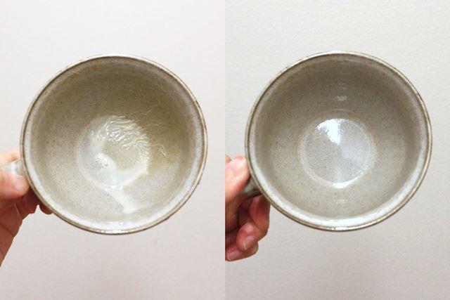 カップにこびりついていたホットミルクの「まく」もすっきり