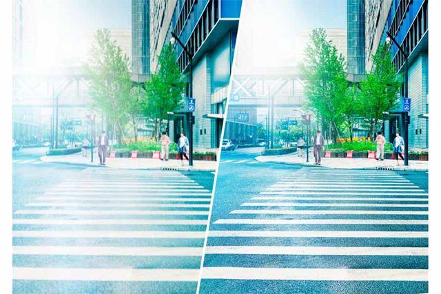日中屋外のイメージ(左:通常の状態 右:光が調節された状態)