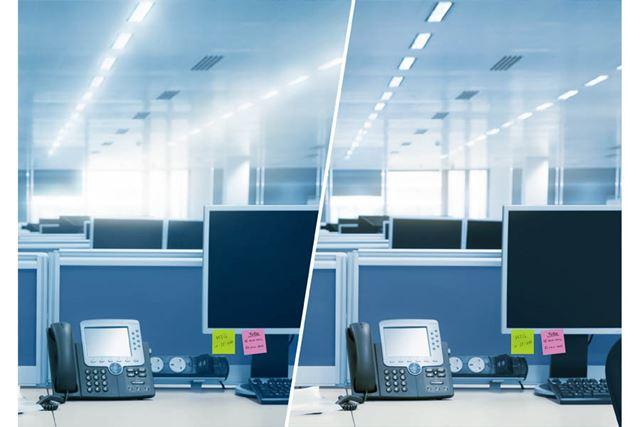 日中室内のイメージ(左:通常の状態 右:光が調節された状態)