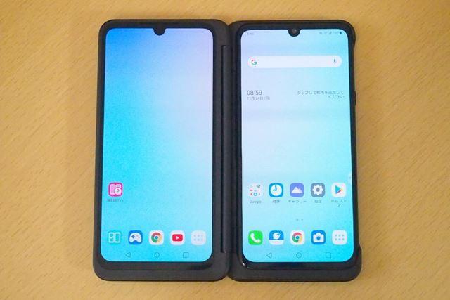 セカンドスクリーンを広げたところ。左右のスクリーンはサイズや解像度が同じ仕様です