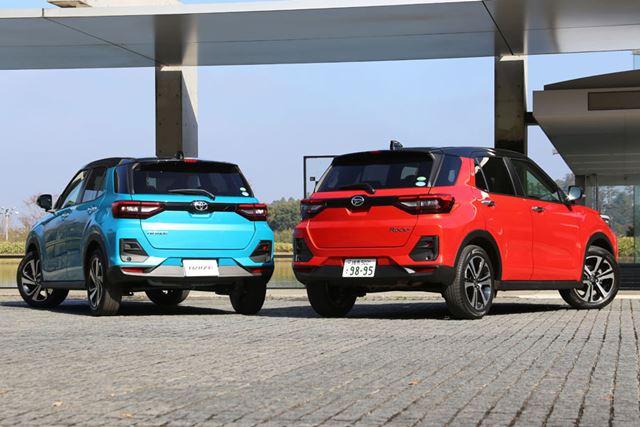 トヨタ「ライズ」(左)とダイハツ「ロッキー」(右)