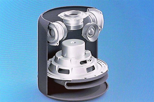 円筒形の本体内部に5つのスピーカーユニットを搭載