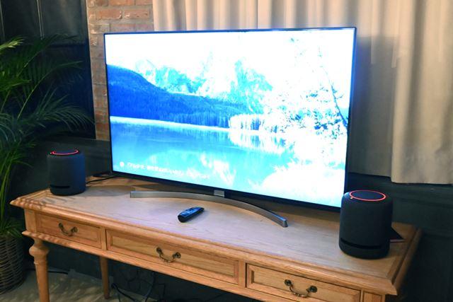 「Echo Studio」を2台使用した「Dolby Atmos」対応映像コンテンツのデモは迫力満点だった