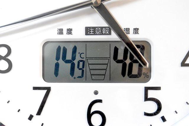 この日の室温は約15℃