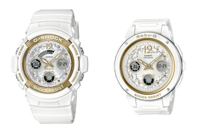 G-SHOCK「LOV-19A-7AJR」(左)とBABY-G「LOV-19A-7AJR」(右)のペアモデル。価格は、2本セットで33,550円