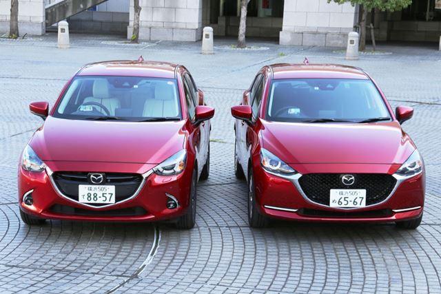 先代モデルのマツダ「デミオ」(左)と新型「MAZDA2」(右)