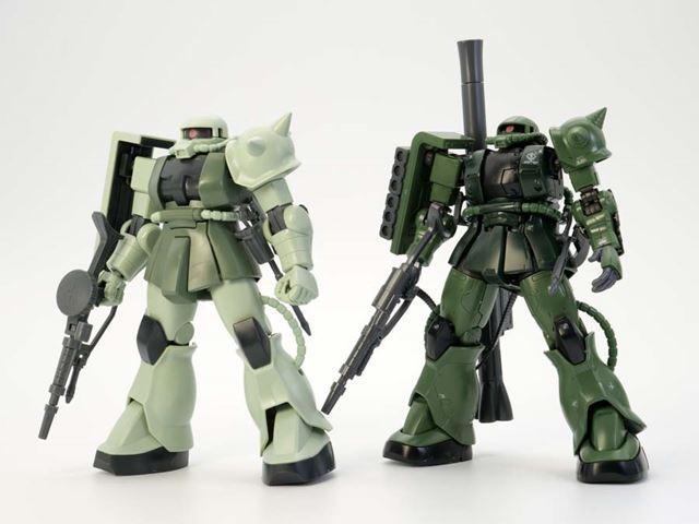 HGUC量産型ザク(左)とC-6/R6型を比較