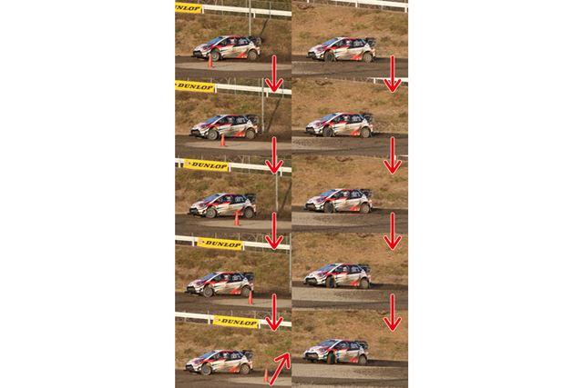 ダートコースを走るヤリスWRCを1秒間連写<br>拡大画像(2,400×4,000ピクセル、1.77MB)を見る