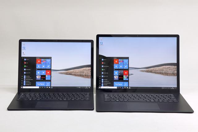 左が13.5型のSurface Laptop 3 13.5インチ、右が15型のSurface Laptop 3 15インチ