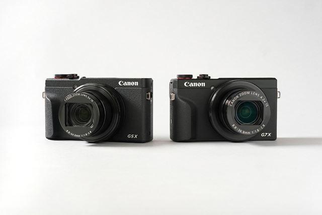 キヤノンからはPowerShot G5 X Mark II(左)とPowerShot G7 X Mark III(右)の2モデルが登場した