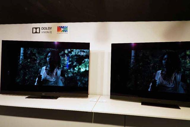 「Dolby Vision IQ」「Filmmaker Mode」で暗い画面を明るく表示するデモの様子