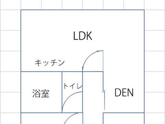 我が家のLDKの間取り。キッチン、リビング、ダイニング、DENがドアレスでつながっており、形がL字型