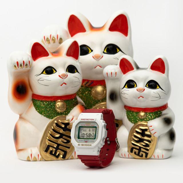 白招き猫をイメージした「MANEKINEKO DW-5600TMN-7JR」(14,300円)