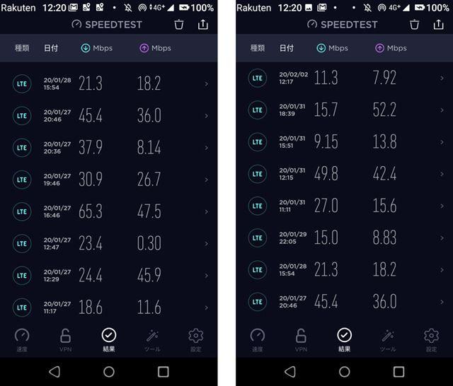 Ookla「Speedtest」を使った速度計測の結果、自社回線なら大体20〜40Mbps程度であることが多かった