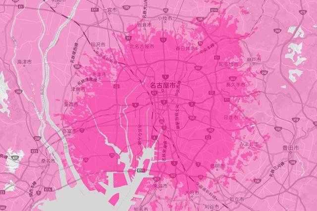 愛知県のエリア展開の様子。名古屋市を中心に周辺に広がっている