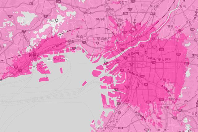 大阪市を中心に、東大阪市、柏原市、堺市などの近隣都市にもエリアが広がっている