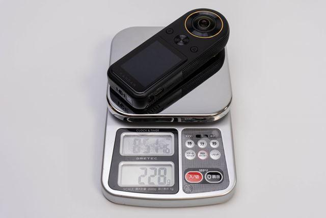 本体重量(micro SD カード込み)は実測で228g