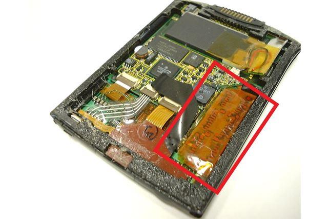 Palm Vの隙間に組み込んだナイトライダー基板の駆動回路