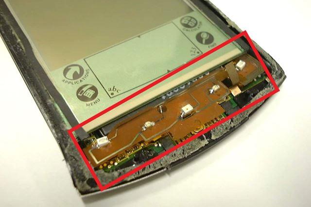 Palm Vのスイッチの上に重ねたナイトライダー基板のLED部