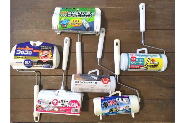 各社の進化系粘着ローラー5商品と、比較用として100円ショップのもの1商品を用意しました