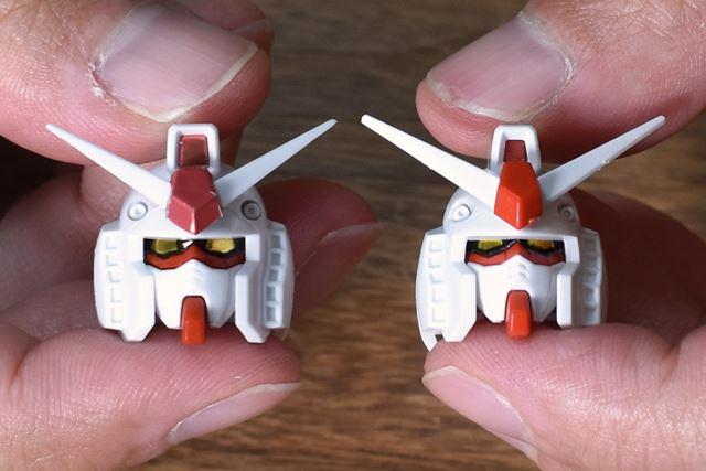 左が「Ver.1.5」で、右が「パーフェクトガンダム」。こうしてみると、後者が小顔になったのがわかる