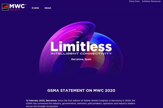 GSMAおよびMWC Barcelona 2020のサイトで、中止の声明が発表された