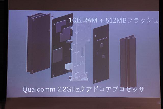 クアルコム製の2.2GHzクアッドコアCPUを搭載