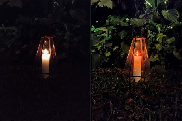 ナイトビジョンの効果。左がオフ、右がオンの写真