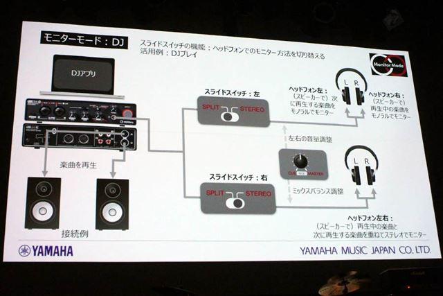 「DJ」モードのモニターアウトプット切り替え例