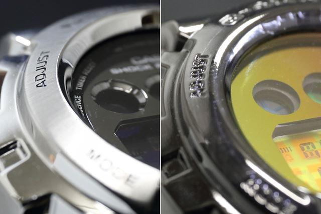 左がメタルベゼルの「GM-6900-1JF」、右が樹脂製の「DW-6900SP-1JR」
